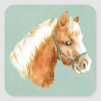 Sticker Carré Étalon pour aquarelle de style de cheval