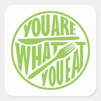 Sticker Carré Êtes vous ce qui vous mangez la conception de