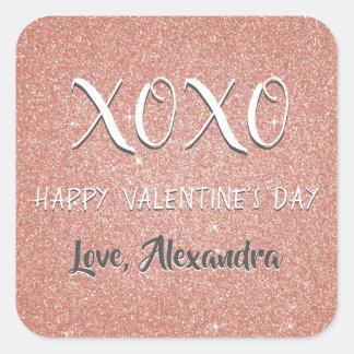 Sticker Carré Étincelle d'or de rose de rose de Saint-Valentin
