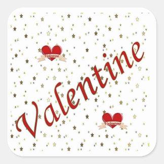 Sticker Carré Étoiles d'or de coeurs rouges de Valentine sur