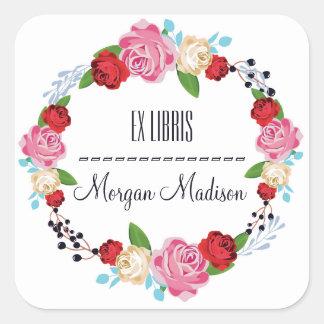 Sticker Carré Ex-libris floral à la mode de guirlande de roses