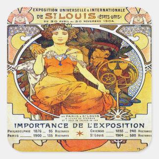 Sticker Carré Exposition 1903 d'Alfons Mucha Universelle