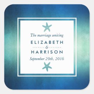 Sticker Carré Faveur de mariage de plage d'étoiles de mer