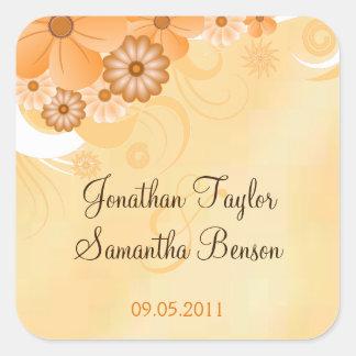 Sticker Carré Faveur florale de carré de mariage de ketmie d'or
