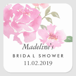 Sticker Carré Faveur nuptiale de douche de pivoines roses