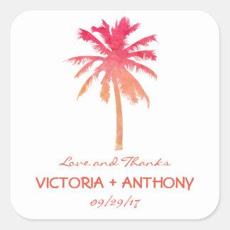 Sticker Carré Faveur tropicale de mariage de plage de palmier de