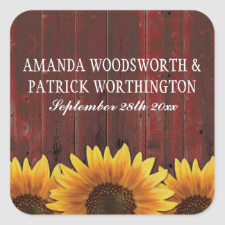 Sticker Carré Faveurs rustiques en bois de mariage de tournesol
