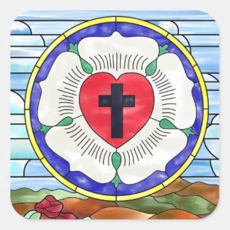 Sticker Carré Fenêtre en verre teinté de joint de Luther