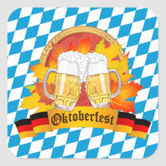 Sticker Carré Festival allemand de bière d'Oktoberfest