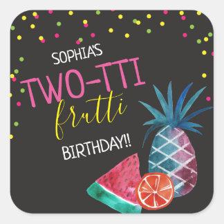 Sticker Carré Fête d'anniversaire d'aquarelle de Two-tti Frutti