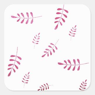 Sticker Carré Feuillage rose foncé d'hiver