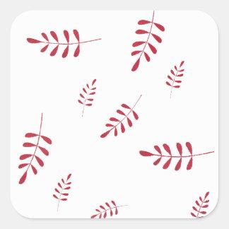 Sticker Carré Feuillage rouge d'hiver
