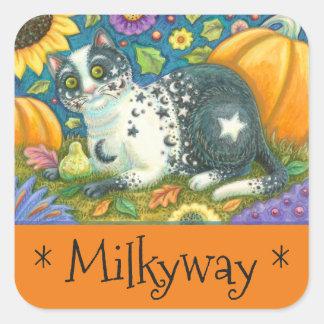 Sticker Carré Feuille d'AUTOCOLLANTS de CAT d'art populaire de