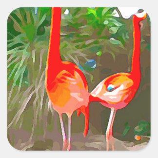 Sticker Carré Flamants roses à Key West