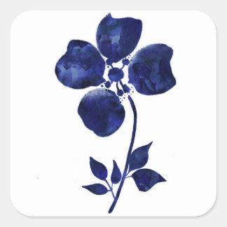 Sticker Carré Fleur bleue