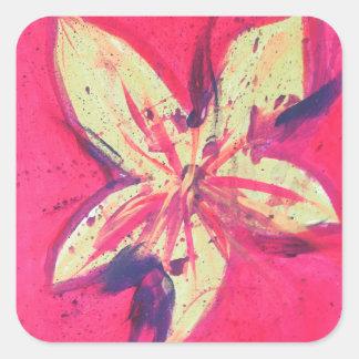 Sticker Carré Fleur du feu par Jane