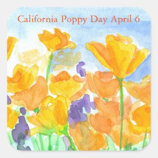 Sticker Carré Fleurs d'aquarelle de jour de pavot de Californie