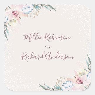 Sticker Carré Fleurs d'aquarelle et mariage de typographie