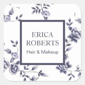 Sticker Carré Floral bleu vintage de salon de beauté de