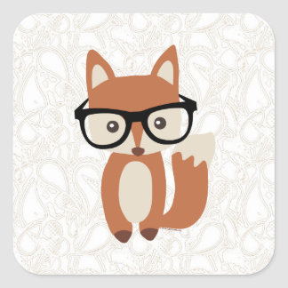 Sticker Carré Fox w/Glasses de bébé de hippie