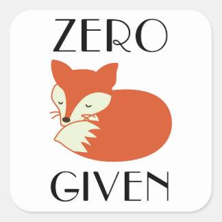 Sticker Carré Fox zéro donné