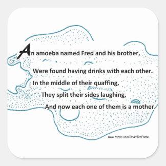 Sticker Carré Fred l'amibe - un poème de la Science de