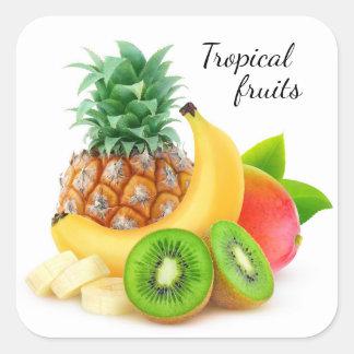 Sticker Carré Fruits tropicaux
