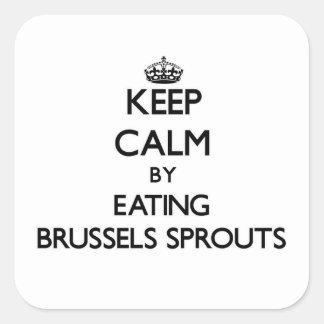 Sticker Carré Gardez le calme en mangeant des choux de bruxelles