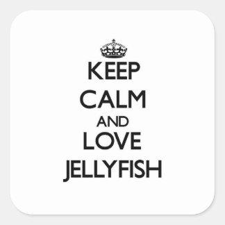 Sticker Carré Gardez le calme et aimez les méduses