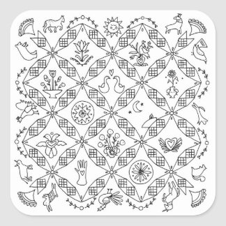 Sticker Carré Gens simples - bloc de Sarah Fielke du mois 2018