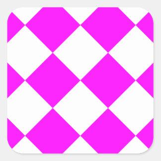 Sticker Carré Grand Checkered de Diag - blanc et fuchsia