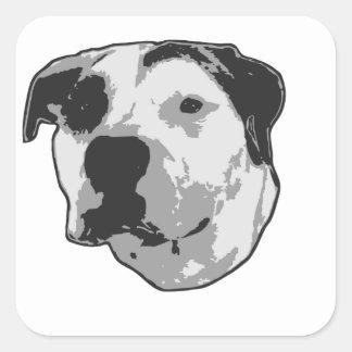 Sticker Carré Graphique d'à l'os de pitbull