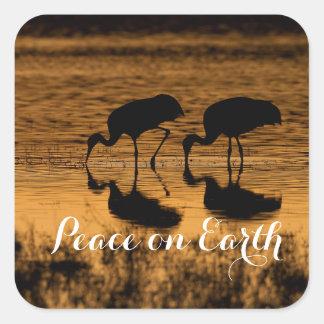 Sticker Carré Grues et paix sur terre