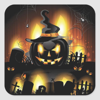 Sticker Carré Halloween - citrouilles effrayants w/Hat