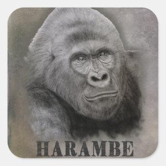 Sticker Carré Harambe (dessin de graphite)