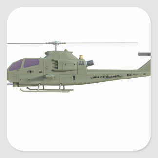 Sticker Carré Hélicoptère d'Apache dans le profil de vue de côté