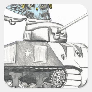 Sticker Carré Hibou de bataille de réservoir