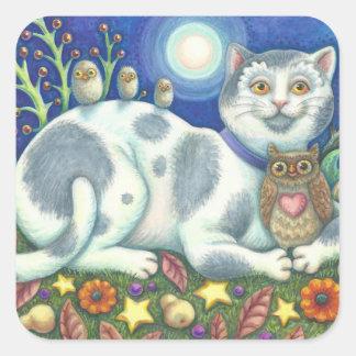 Sticker Carré Hiboux et la feuille d'AUTOCOLLANTS de CAT d'art