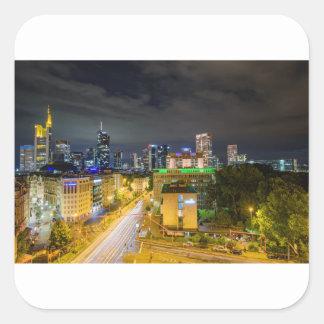 Sticker Carré Horizon de Francfort la nuit