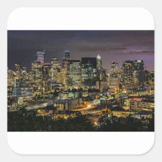 Sticker Carré Horizon de Seattle la nuit