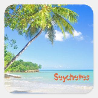 Sticker Carré Île tropicale en Seychelles