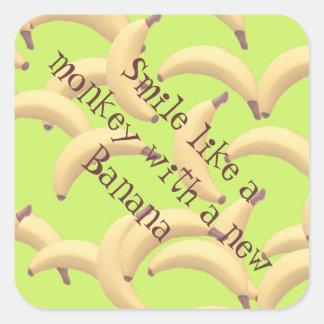 Sticker Carré Illustration de bananes