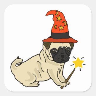 Sticker Carré Illustration drôle de Halloween de sorcière ou de