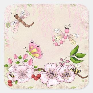 Dragonfly Pink Cherry Blossom Story Illustration