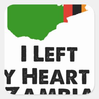 Sticker Carré J'ai laissé mon coeur en Zambie