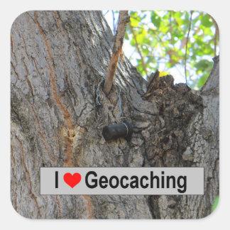 Sticker Carré J'aime geocaching : Cintre d'arbre