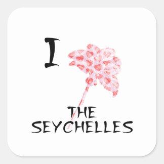 Sticker Carré J'aime les Seychelles