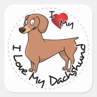 Sticker Carré J'aime mon chien de basset allemand