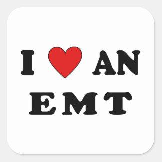 Sticker Carré J'aime un EMT