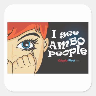 Sticker Carré Je vois des personnes d'Ambo